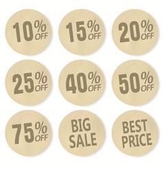 cardboard discount sticker set sale banner price vector image