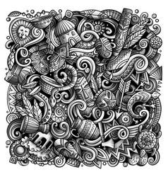 cartoon doodles africa vector image