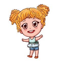 Cartoon girl in anime style little child with vector