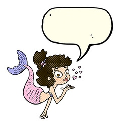 Cartoon pretty mermaid with speech bubble vector