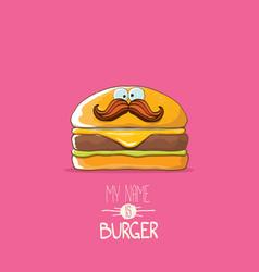 Cartoon tiny burger character with cheese vector