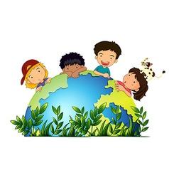 Children around earth vector