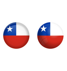 chilean flag under 3d dome button and on glossy vector image