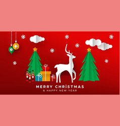 Christmas new year papercut holiday toy landscape vector