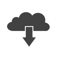 cloud download glyph black icon vector image