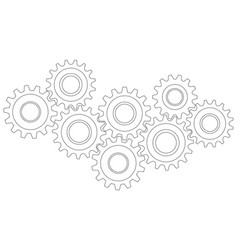cog wheel gear mechanism close-up white vector image
