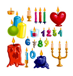 Colorful candle set candle flame and wax vector