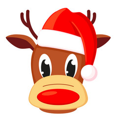 colorful cartoon reindeer head in hat vector image