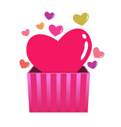 colorful hearts coming out from a box vector image