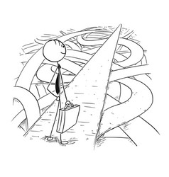 Conceptual cartoon businessman found simple vector