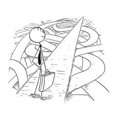 Conceptual cartoon of businessman found simple vector