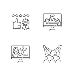 Corporate identity pixel perfect linear icons set vector