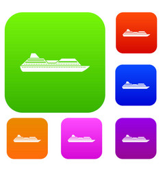 Cruise liner set collection vector