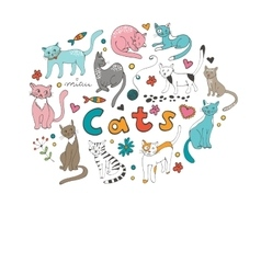Cute hand drawn cats colorful set vector
