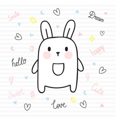 cute hand drawn postcard with funny bunny card vector image