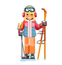 Cute skier girl ski winter sport resort holidays vector