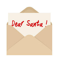 Dear Santa card in brown envelope The letter vector image