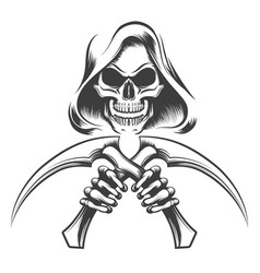 Death with scythe knives vector