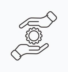Development solution thin line icon gear in hand vector