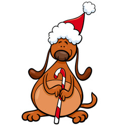 dog with christmas cane cartoon vector image