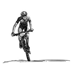 drawing mountain bike competition vector image