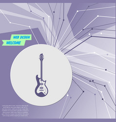 Electric guitar icon on purple abstract modern vector