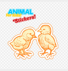 Farm animals chicken in sketch style on colorful vector