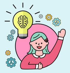 Female avatar and light bulb creative idea vector