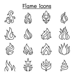 flame fire icon set in thin line style vector image