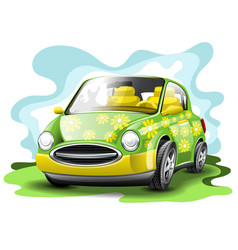 Green and yellow funny car in cartoon style vector