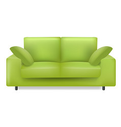 Green sofa and pillows isolated white background vector