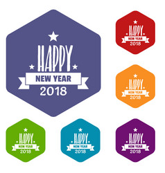 happy new year lettering icons hexahedron vector image