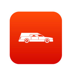 Hearse icon digital red vector