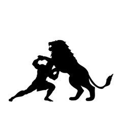 Heracles fights lion predator silhouette mythology vector
