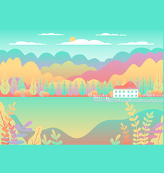 Hills and mountains landscape house farm in flat vector
