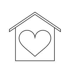 house love heart beauitful card outline vector image