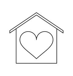 House love heart beauitful card outline vector