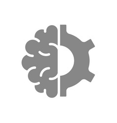 human brain with gear wheel gray icon engineering vector image