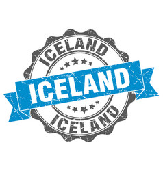 Iceland round ribbon seal vector
