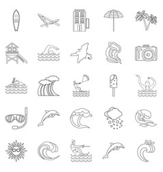 Insular icons set outline style vector