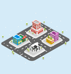 Isometric christmas town vector