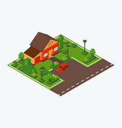 isometric house with lawn and car vector image