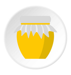 Jar of fresh honey icon circle vector