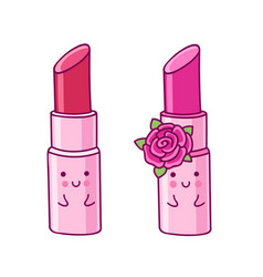 Lipstick cartoon character with cute face vector