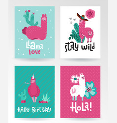 Llama and alpaca greeting card collection cute vector