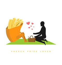 Lover french fries Fast food at picnic Rendezvous vector