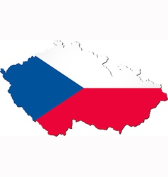 Map of the Czech Republic with national flag vector