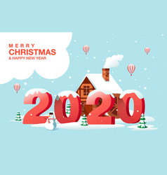 merry christmas happy new year 2020 hometown vector image