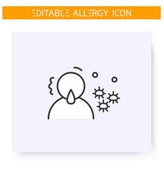 Mold allergy line icon editable vector