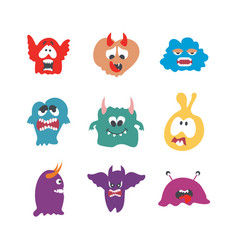 monsters characters set flat with fun cheerful vector image
